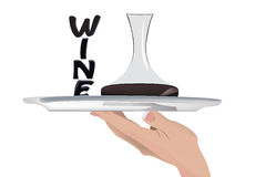 up and hands silver tray with wine Royalty Free Stock Images