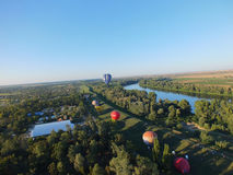 From up high. Hot Air Balloon festival in Senta, Serbia Stock Image