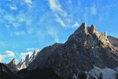 Up hill Mountains of Italy Dolomites. With sky royalty free stock photo