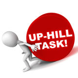 Up hill task. A hard or up hill job, little 3d man pushing a rolling cylinder uphill with difficulty, with text label up-hill task stock illustration