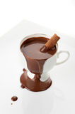 Сup of hot chocolate with cinnamon on a white background Stock Images