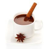 Сup of hot chocolate with spice Royalty Free Stock Images