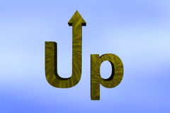 Up I. The word Up with the U made into an arrow pointing upwards Vector Illustration