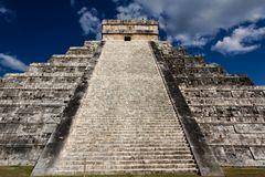 Up Kukulkan Pyramid Stairs Landscape. View up the stairs of Kukulkan Pyramid at Chichen Itza, Yucatan, Mexico Stock Images