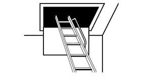 Up in the loft. Loft ladder leading to the loft space Royalty Free Stock Photos