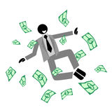 Up money. Puppet jumping on a pile of dollar bills Stock Image