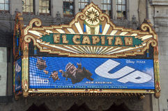 UP movie at El Capitan. El Capitan Theatre, in Hollywood, announcing the movie UP Stock Photos
