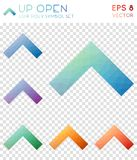 Up open geometric polygonal icons. Breathtaking mosaic style symbol collection. Interesting low poly style. Modern design. Up open icons set for infographics Stock Photos