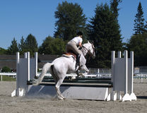 Up and Over. Young lady and her horse taking a jump at a local equestrian event Stock Images
