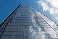 Up The Shard. A view directly up the Shard of Glass building in London from the pavement below Stock Image