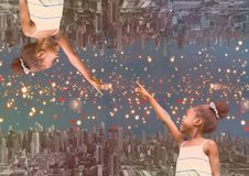 up side down city at night with lights girl fingering himself Royalty Free Stock Photos
