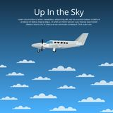 Up in the sky poster with propeller airplane. Up in the sky poster for private airline. Side view propeller airplane in cloudy blue sky. Comfortable air Royalty Free Stock Photos