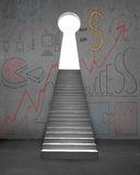 Up stairs to key shape door with business doodles Stock Image