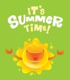 Up_sun2_sign 2It's夏时!与胳膊的夏天太阳宽打开 库存图片