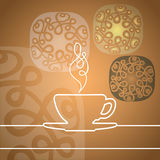 Сup of tea, pairs yellow silhouette Stock Images