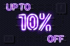 Free UP TO 10 Percent OFF Glowing Purple Neon Lamp Sign On A Black Electric Wall Stock Images - 218441464