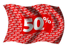 Up to 50% off flag. Up to 50% off retail sale flag billowing gently in the breeze Stock Photography