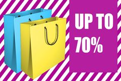 Up To 70% - business concept. 3D illustration of with two shpping bags, along with the script UP TO 70 Stock Images