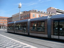 Up-to-date tram on Place Massena in Nice Royalty Free Stock Image