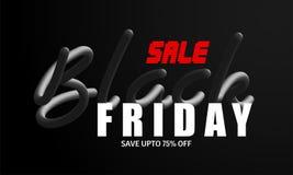 Up to 75% discount offer for Black Friday Sale, Advertising bann. Er or poster design stock illustration