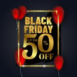 Up to 50% discount offer for Black Friday sale banner or poster. Design decorated with glossy red balloons on black background royalty free illustration