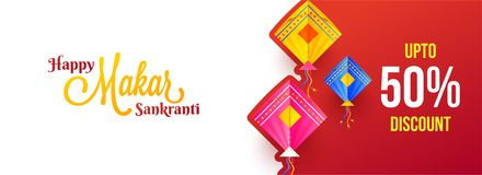 Up to 50% discount offer for Makar Sankranti festival, colorful. Kite decorated on glossy red background. Website header or banner design vector illustration