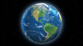 Up to 4K Earth Rotating View From Space. Planet Earth rotating with view from Space.  30 second clip is a seamless loopable rotation of the earth.  Available up stock video