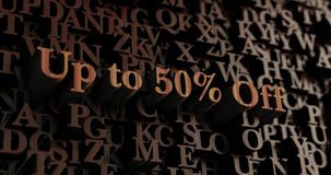 Up to 50% Off - Wooden 3D rendered letters/message. Can be used for an online banner ad or a print postcard stock illustration