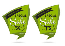 Up to 75 percent off sale. A pair of labels, one with the text '50 percent off' and one with '75 percent off Stock Images