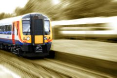 Up to speed. Fast train rendered in dual color effect Stock Images