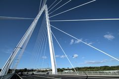 Up to the Top of Sunderland`s Northern Spire Bridge stock images