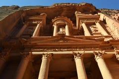 Up the Treasury. The treasury of Petra ancient city, Jordan royalty free stock photography