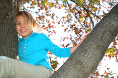 Up in a tree. A little girl climbing a tree in the fall when the leaves change color. Happy child looking down from a tree branch Royalty Free Stock Photos