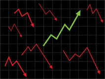 Up Trend and Trend Watching Concept. Stock market graph with different trend and up trend concept Stock Image