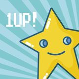 1up videogame star. Vector illustration graphic design Royalty Free Stock Image