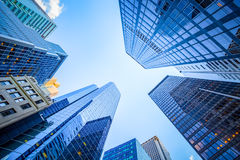 Up view in financial district. Manhattan, New York Royalty Free Stock Image