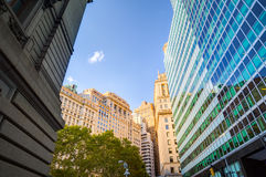 Up view in financial district. Manhattan, New York Stock Image