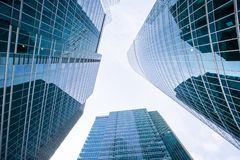 Up view in financial districtg Moscow-City, Russia stock image