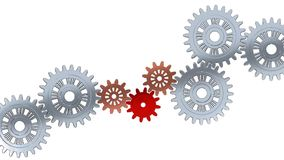 Up View of gears in too fast rotation with the red one which disappear in a flash. With a white background stock video