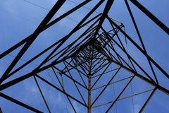 Up view in high-tension transmission line Stock Photos