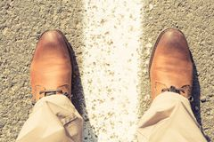 Up view of man shoes of brown genuine leather Royalty Free Stock Photo
