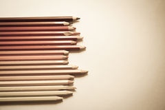 Up-view of pencils background Stock Photos