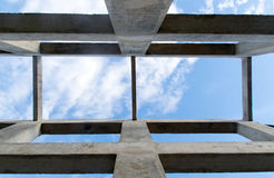Up view Pillar and beam structure for construction abstract background Stock Photo