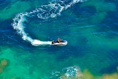 Up view of sea water and ski jet Royalty Free Stock Photography