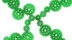 Up View of Several Green Gears Royalty Free Stock Photos