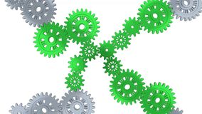 Up view of silver gears in rotation becoming green step by step. With a white background vector illustration