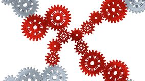 Up View of Silver Gears in Rotation becoming Red step by step. With a white background stock footage