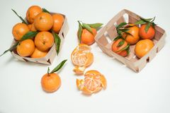 Up view of the stack purified tangerines Royalty Free Stock Images