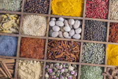 Up view wooden box with spices and herbs Royalty Free Stock Photography