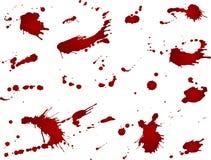 Upaćkana krwionośna kleks kolekcja, czerwone krople na białym tle Wektorowa ilustracja, maniaczka styl, odizolowywający Duzi pluś Fotografia Royalty Free